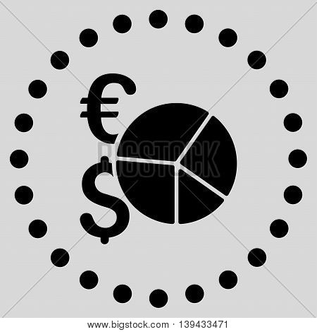 Financial Pie Chart vector icon. Style is flat circled symbol, black color, rounded angles, light gray background.