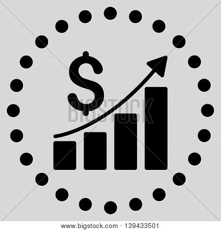 Financial Report vector icon. Style is flat circled symbol, black color, rounded angles, light gray background.