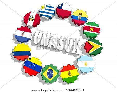 Union of South American Nations international union members flags on gears. 3D rendering