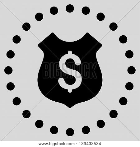 Financial Shield vector icon. Style is flat circled symbol, black color, rounded angles, light gray background.