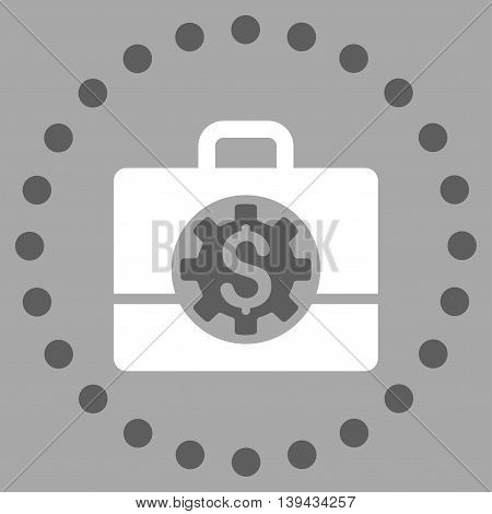 Bank Career Options vector icon. Style is bicolor flat circled symbol, dark gray and white colors, rounded angles, silver background.