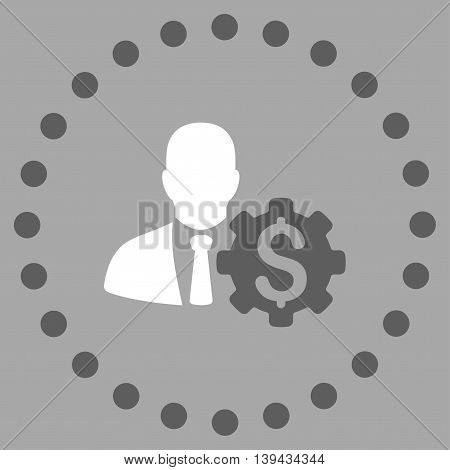 Banker Options vector icon. Style is bicolor flat circled symbol, dark gray and white colors, rounded angles, silver background.