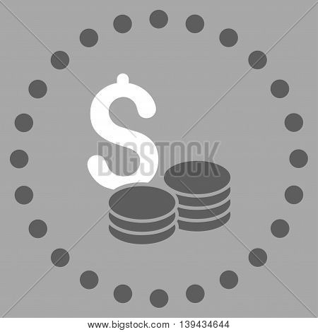 Dollar Cash vector icon. Style is bicolor flat circled symbol, dark gray and white colors, rounded angles, silver background.