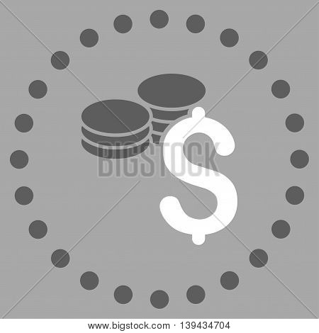 Dollar Coins vector icon. Style is bicolor flat circled symbol, dark gray and white colors, rounded angles, silver background.