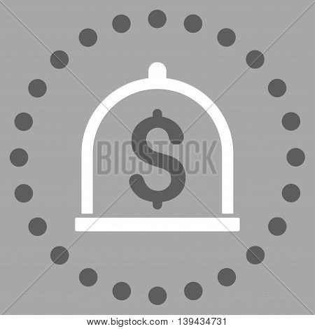 Dollar Deposit vector icon. Style is bicolor flat circled symbol, dark gray and white colors, rounded angles, silver background.