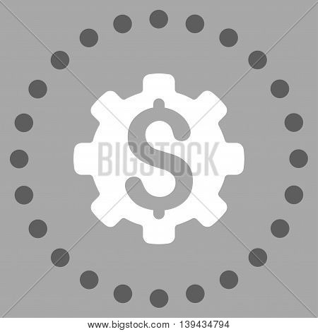 Dollar Options vector icon. Style is bicolor flat circled symbol, dark gray and white colors, rounded angles, silver background.