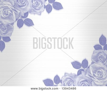 Wedding invitation blue roses