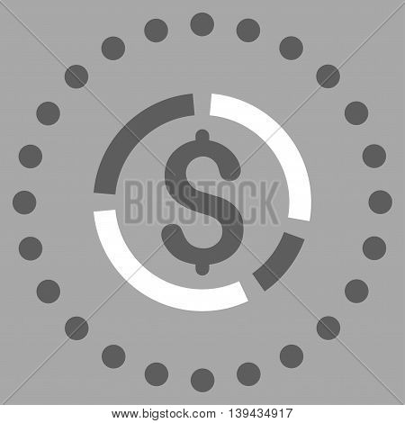 Financial Diagram vector icon. Style is bicolor flat circled symbol, dark gray and white colors, rounded angles, silver background.