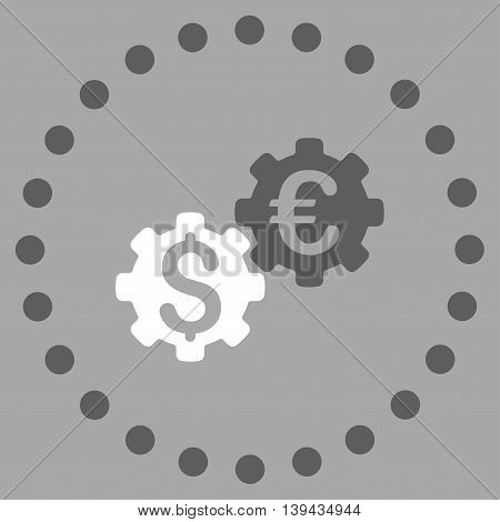 Financial Mechanics vector icon. Style is bicolor flat circled symbol, dark gray and white colors, rounded angles, silver background.