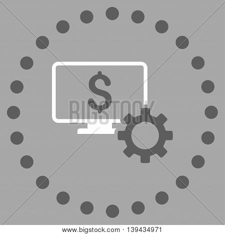 Financial Monitoring Options vector icon. Style is bicolor flat circled symbol, dark gray and white colors, rounded angles, silver background.