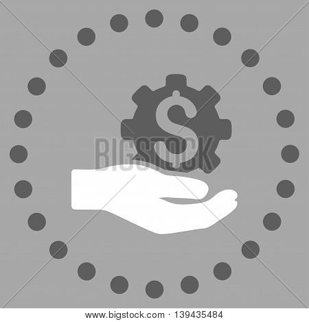 Industrial Service vector icon. Style is bicolor flat circled symbol, dark gray and white colors, rounded angles, silver background.