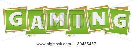 Gaming text alphabets written over green background.