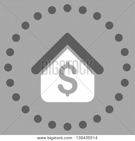 Loan Mortgage vector icon. Style is bicolor flat circled symbol, dark gray and white colors, rounded angles, silver background.