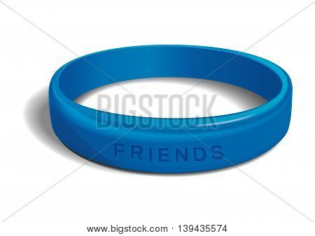 Blue plastic wristband with the inscription - FRIENDS. Friendship band isolated on white background. Realistic vector illustration for International Friendship Day