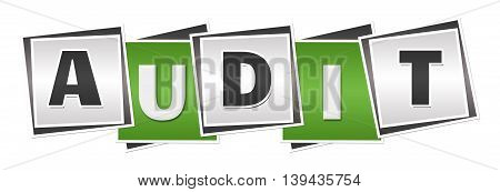 Audit text alphabets written over green grey background.