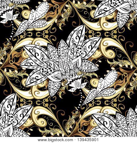 Vintage pattern on black background with golden and white elements.