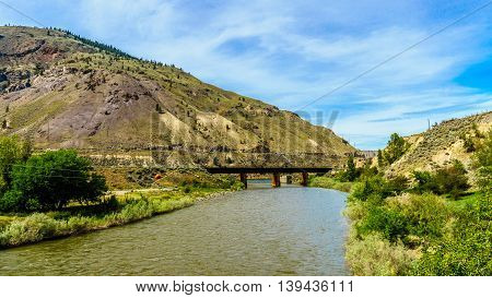 Railway Bridge over the Nicola River where it flows into the Thompson River at Spences Bridge in British Columbia