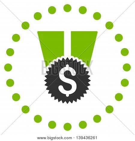 Financial Medal vector icon. Style is bicolor flat circled symbol, eco green and gray colors, rounded angles, white background.