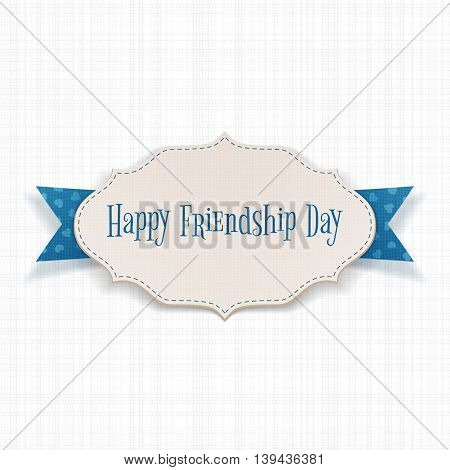 Happy Friendship Day paper Label. Vector Illustration