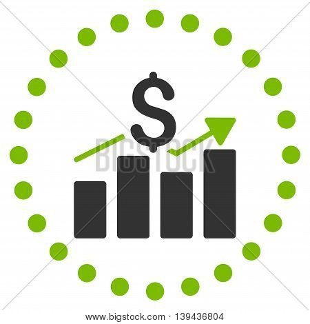 Sales Bar Chart vector icon. Style is bicolor flat circled symbol, eco green and gray colors, rounded angles, white background.