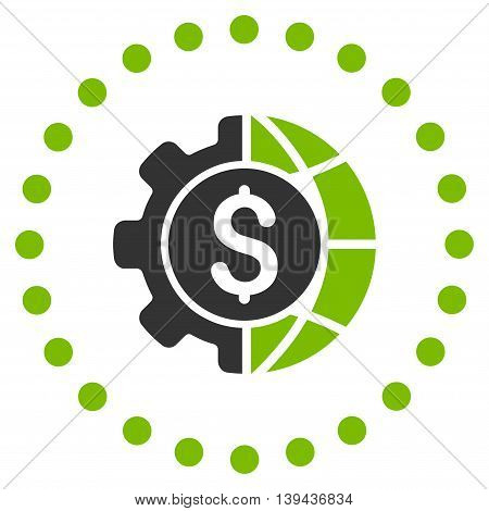 World Industry Finances vector icon. Style is bicolor flat circled symbol, eco green and gray colors, rounded angles, white background.