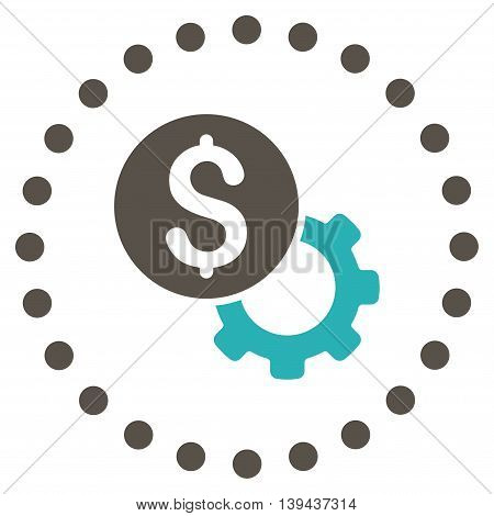 Development Cost vector icon. Style is bicolor flat circled symbol, grey and cyan colors, rounded angles, white background.
