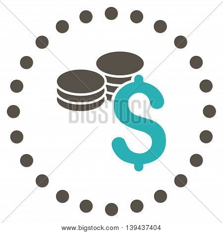 Dollar Coins vector icon. Style is bicolor flat circled symbol, grey and cyan colors, rounded angles, white background.