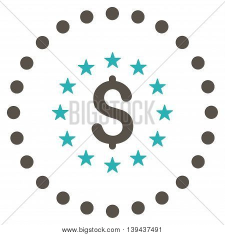 Dollar Stars vector icon. Style is bicolor flat circled symbol, grey and cyan colors, rounded angles, white background.