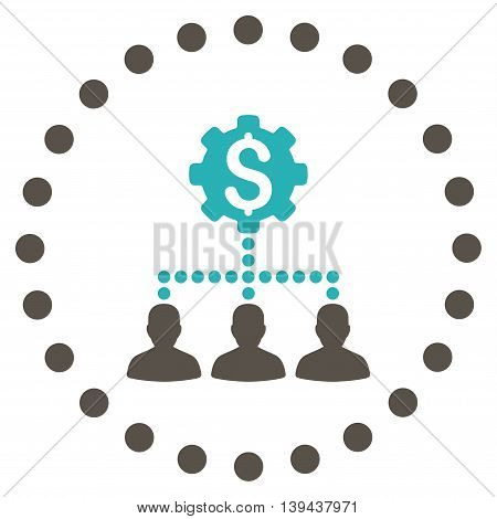 Industrial Bank Clients vector icon. Style is bicolor flat circled symbol, grey and cyan colors, rounded angles, white background.