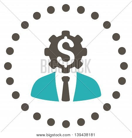 Office Worker vector icon. Style is bicolor flat circled symbol, grey and cyan colors, rounded angles, white background.