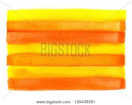 Bright orange background with abstract watercolor striped pattern hand draw