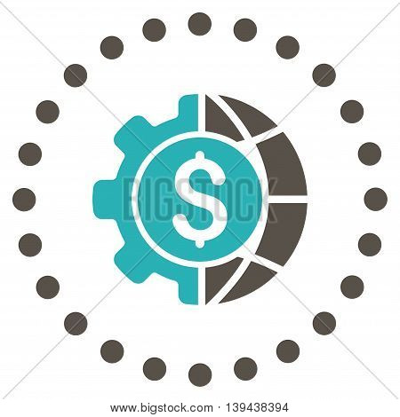 World Industry Finances vector icon. Style is bicolor flat circled symbol, grey and cyan colors, rounded angles, white background.