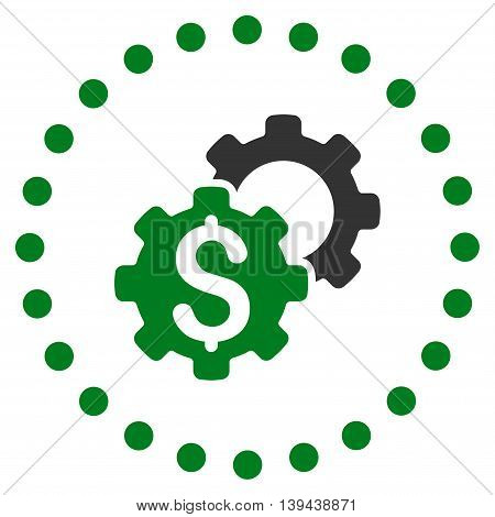 Bank Configuration vector icon. Style is bicolor flat circled symbol, green and gray colors, rounded angles, white background.
