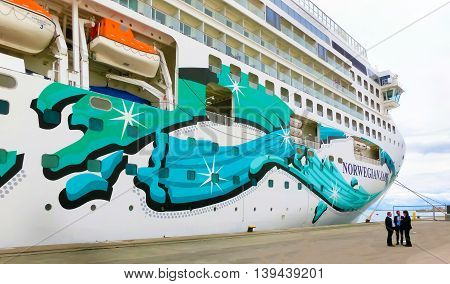 Rome, Civitavecchia, Italy - May 03, 2014: The cruise Ship Norwegian Jade by NCL in port