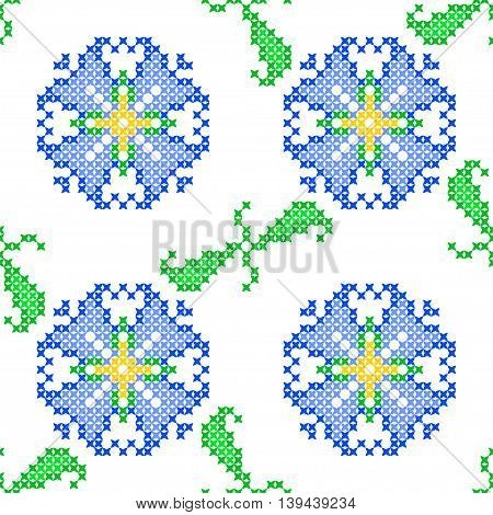 Seamless embroidered texture of abstract flat patterns bells with leaves cross-stitch ornament for cloth