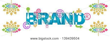 Brand text in creative way written over abstract colorful background.