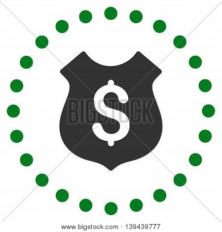 Financial Shield vector icon. Style is bicolor flat circled symbol, green and gray colors, rounded angles, white background.
