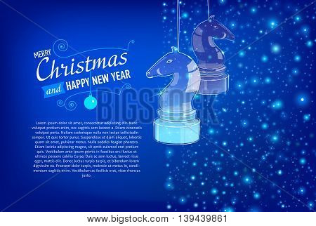 Merry Christmas and Happy New Year Card with glass horses. Vector illustration