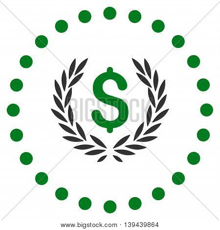 Laurel Bank Emblem vector icon. Style is bicolor flat circled symbol, green and gray colors, rounded angles, white background.