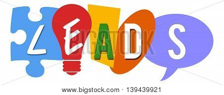 Leads text alphabets written over colorful background.