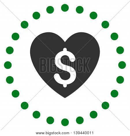 Paid Love vector icon. Style is bicolor flat circled symbol, green and gray colors, rounded angles, white background.