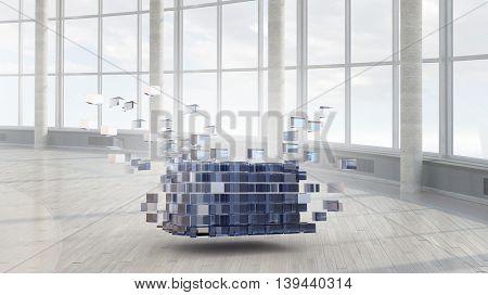 Cube figure in elegant interior .  Mixed media