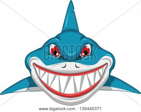 angry shark cartoon on sea for you design