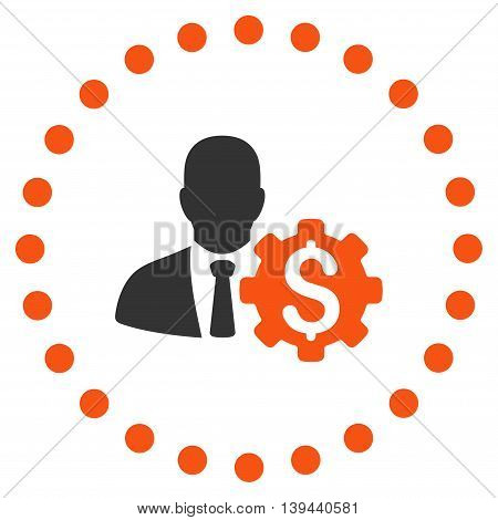 Banker Options vector icon. Style is bicolor flat circled symbol, orange and gray colors, rounded angles, white background.