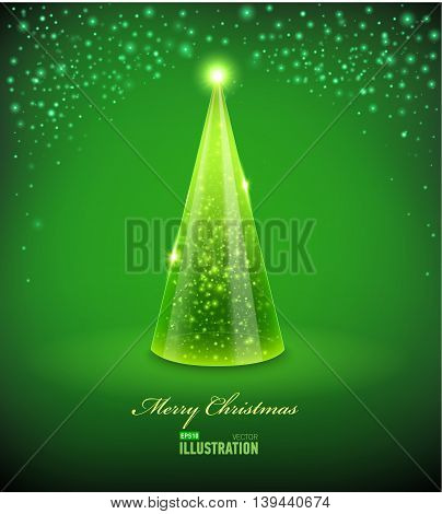 Merry Christmas Card with Glass Christmas tree. Vector illustration