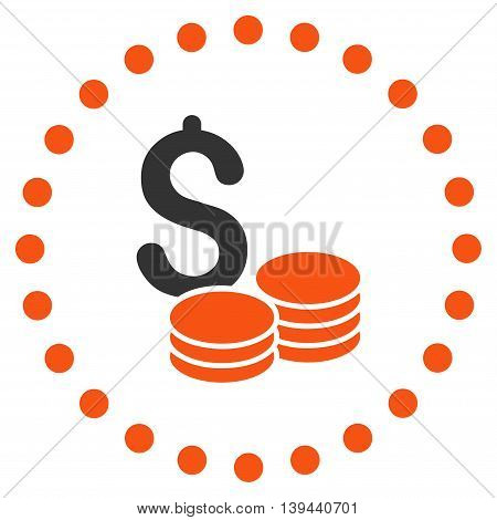 Dollar Cash vector icon. Style is bicolor flat circled symbol, orange and gray colors, rounded angles, white background.