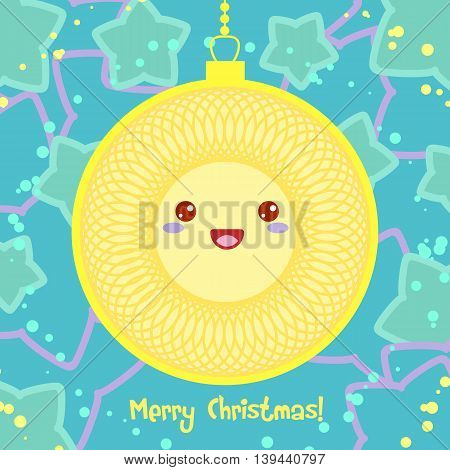 Vector Christmas card with yellow ball and star on background in Kawaii style