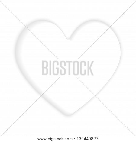 Red three-dimensional heart isolated on white background. Postcard from the heart.