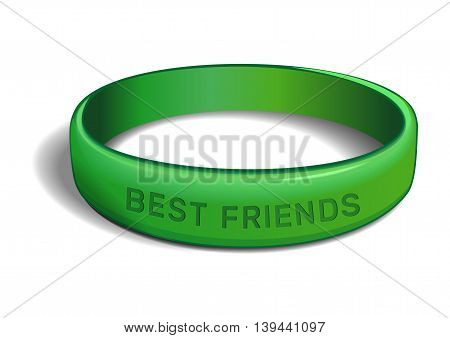 Green plastic wristband with the inscription - BEST FRIENDS. Friendship band isolated on white background. Realistic vector illustration for International Friendship Day