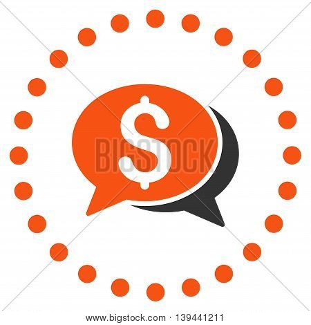 Financial Chat vector icon. Style is bicolor flat circled symbol, orange and gray colors, rounded angles, white background.